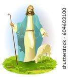 resurrected jesus christ with... | Shutterstock .eps vector #604603100