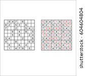 vector sudoku with answer  | Shutterstock .eps vector #604604804