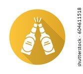 toasting beer bottles. flat...   Shutterstock .eps vector #604611518