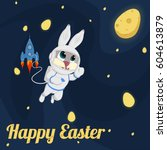 happy easter background space... | Shutterstock .eps vector #604613879