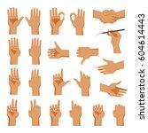 set of hands men's in different ... | Shutterstock .eps vector #604614443