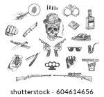 mafia and gangster set. hand... | Shutterstock .eps vector #604614656