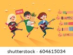 happy young girls with guitar ... | Shutterstock .eps vector #604615034