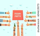 youth friday party. a lot of... | Shutterstock .eps vector #604615073