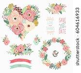 floral heart sharp elements   Shutterstock .eps vector #604616933