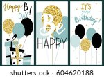 happy birthday party cards set... | Shutterstock .eps vector #604620188