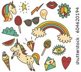set of retro colored funny... | Shutterstock .eps vector #604620194