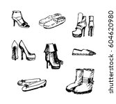 different kinds of hand drawn... | Shutterstock .eps vector #604620980