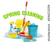 spring cleaning flat design... | Shutterstock .eps vector #604621034