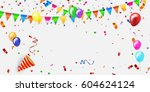 colored confetti with ribbons... | Shutterstock .eps vector #604624124