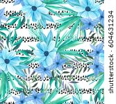 seamless pattern with... | Shutterstock . vector #604631234