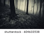 dark scary forest mysterious... | Shutterstock . vector #604633538