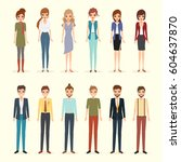 set of woman and man character. ... | Shutterstock .eps vector #604637870