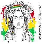 portrait of rastaman. jamaica... | Shutterstock .eps vector #604638764