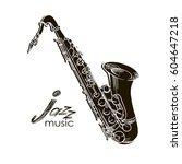 saxophone doodle  hand drawn... | Shutterstock .eps vector #604647218
