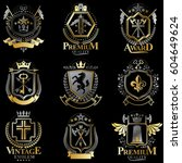 heraldic coat of arms created... | Shutterstock .eps vector #604649624
