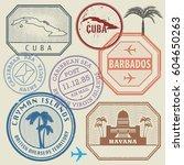 travel stamps set caribbean sea ...   Shutterstock .eps vector #604650263