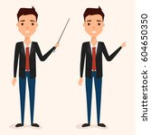 businessman pointing character. ... | Shutterstock .eps vector #604650350