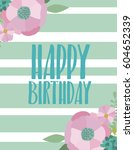 cute birthday greeting card or...   Shutterstock .eps vector #604652339