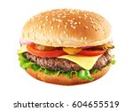 Classic cheeseburger isolated...