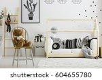 black and white boy bedroom...   Shutterstock . vector #604655780