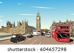 london cityscape hand drawn.... | Shutterstock .eps vector #604657298
