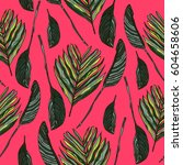 seamless pattern with tropical... | Shutterstock .eps vector #604658606