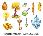 a set of symbols of magic. tree ... | Shutterstock . vector #604659356