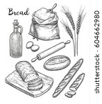 ingredients and bread set. hand ... | Shutterstock .eps vector #604662980