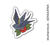 doodle icon  sticker. swallow.... | Shutterstock .eps vector #604663964