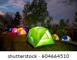 Camping tent point in Thailand with twilight time. - stock photo