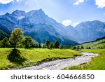 karwendel mountains in austria - small valley called eng alm - stock photo