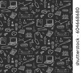 seamless pattern hand drawn... | Shutterstock .eps vector #604668680