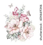 Stock photo watercolor flowers floral illustration pink rose and butterfly branch of flowers isolated on 604669346
