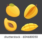 mango yellow fruit isolated... | Shutterstock .eps vector #604680050