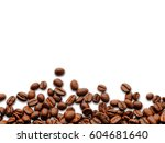 coffee beans isolated on white... | Shutterstock . vector #604681640
