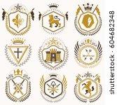 vector vintage heraldic coat of ... | Shutterstock .eps vector #604682348
