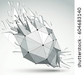 3d vector low poly object with... | Shutterstock .eps vector #604683140