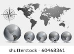 globes with world map vector. | Shutterstock .eps vector #60468361