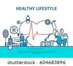 healthy lifestyle concept with... | Shutterstock .eps vector #604683896