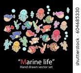 marine life.fish set.fashion... | Shutterstock .eps vector #604685330
