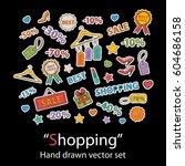 i love shopping.scrapbook... | Shutterstock .eps vector #604686158
