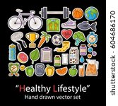 healthy lifestyle. badges patch ... | Shutterstock .eps vector #604686170