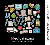 medical icon set.fashion patch... | Shutterstock .eps vector #604686194