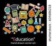 education set.fashion patch... | Shutterstock .eps vector #604686218