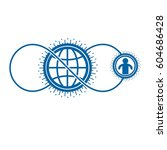 world and person creative logo  ... | Shutterstock .eps vector #604686428