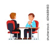 new employee applicant and boss ... | Shutterstock .eps vector #604688483