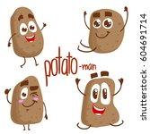 vector set of potato characters....   Shutterstock .eps vector #604691714