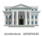 front view of court house  bank ... | Shutterstock .eps vector #604694630