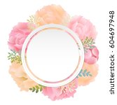 flower banner peony with... | Shutterstock .eps vector #604697948